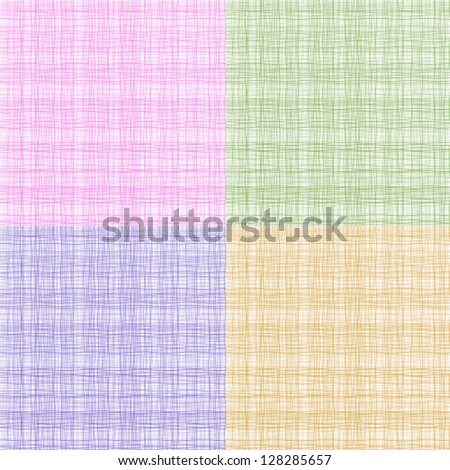 Set of colorful thread fabric texture, vector illustration - stock vector