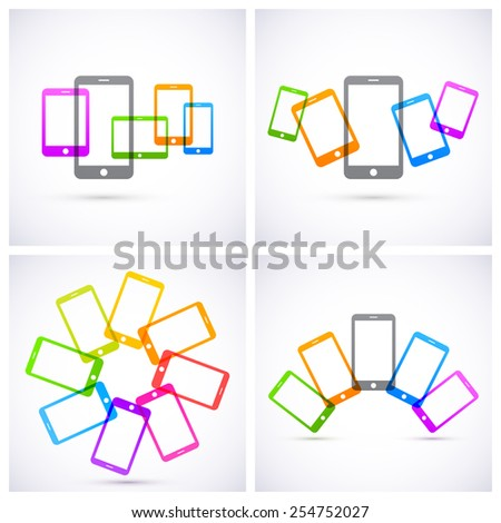 Set of colorful transparent tablets icons. - stock vector