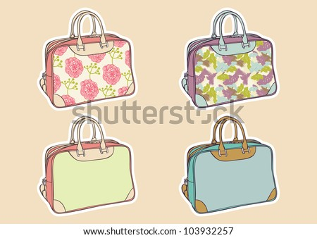set of colorful travel bag - stock vector