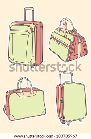 set of colorful travel bag and suitcases - stock vector