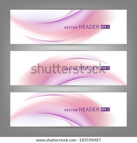 Set of colorful vector banners or business card with abstract lines.  Vector illustration  - stock vector