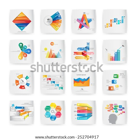 Set of colorful vector design for workflow layout, diagram, number options, web design, presentation template, infographics. - stock vector