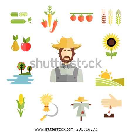 Set of colorful vector farm icons for cultivating grains  fruit and vegetables with a farmer  peas  carrots peppers  pear  apple  sunflower  orchard  fields  corn  hay  scarecrow and planting seed - stock vector