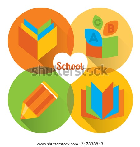 Set of colorful vector icons. Happy school: books, copybook, notebook, pencil - stock vector