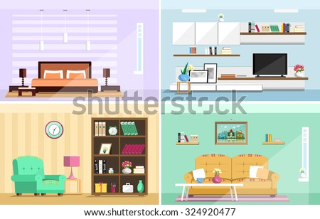Set of colorful vector interior design house rooms with furniture icons: living room, bedroom. Flat style vector illustration. - stock vector
