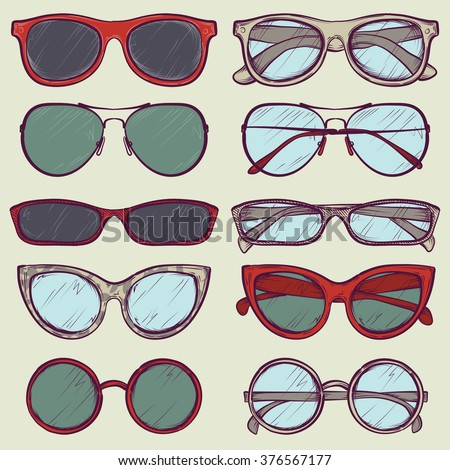 set of colorful vector sketched glasses - stock vector