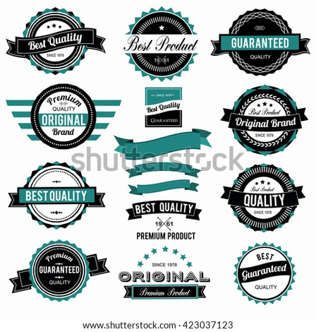 Set of colorful vintage labels with different colors - stock vector
