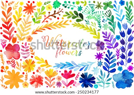 Set of colorful watercolor flowers. Vector illustration frame, vector set of red autumn watercolor leaves and berries, hand drawn design elements - stock vector