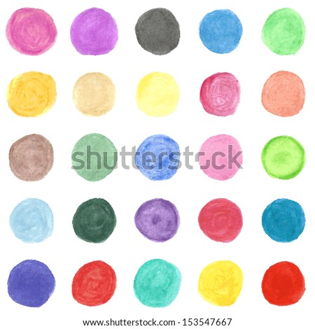 Set of colorful watercolor hand painted circle isolated on white. Vector illustration for your artistic design. Round stains, blobs of red, green, yellow, pink. - stock vector
