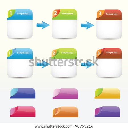 Set of colorfull blank web boxes - stock vector