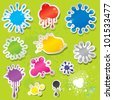 Set of colors splashes stickers with water drops. - stock vector