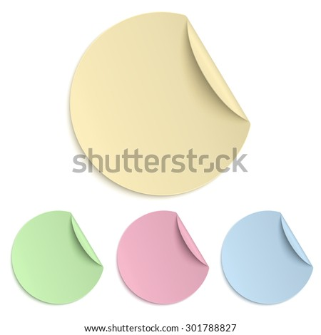 Set of colour round paper sticker isolated on white background. Light from upper right. - stock vector