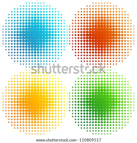 Set of coloured halftones - stock vector