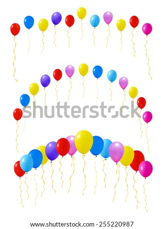Set of colourful balloons. Isolated on white. Vector illustration - stock vector