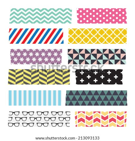 Set of colourful patterned washi tape strips - stock vector