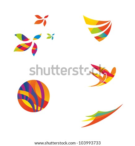 Set of colourful travel icons - stock vector