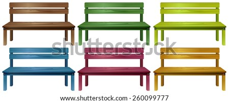 Set of colourful wooden benches on a white background - stock vector