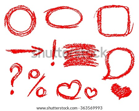 Set of comic red design elements. Crayon chalk hand drawn frame, heart, speech bubble, arrow, question mark, percent sign, exclamation mark. Group of funny vector copy space. - stock vector