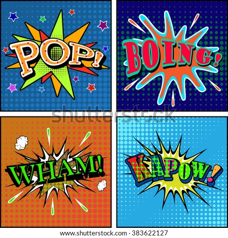 Set of comic sound effects. Pop art style. Vector illustration. - stock vector