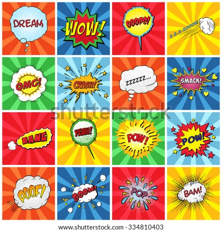 Set of comic sound effects. Vector EPS10 illustration.  - stock vector