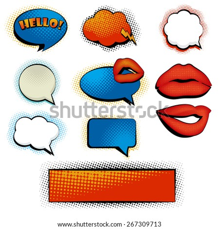 Set of comic sppech bubbles and clouds. Vector eps10. - stock vector