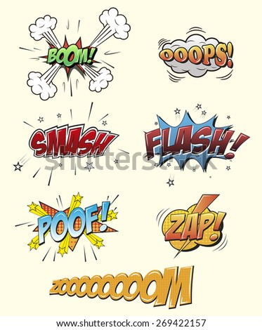 Set of Comic Text, Pop Art style. Set of bright cool and dynamic comic speech bubbles for different emotions and sound effects. vector illustration - stock vector