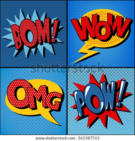 Set of Comics Bubbles in Vintage Style - stock vector