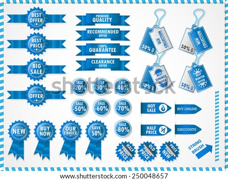 Set of commercial sale stickers, elements, badges and labels. Blue. - stock vector