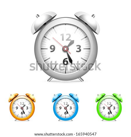 Set of common alarm clock. - stock vector