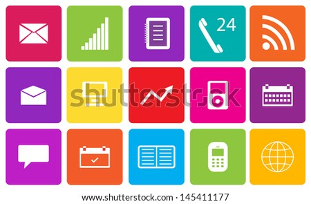 Set of communication and media icons. Vector illustration. - stock vector