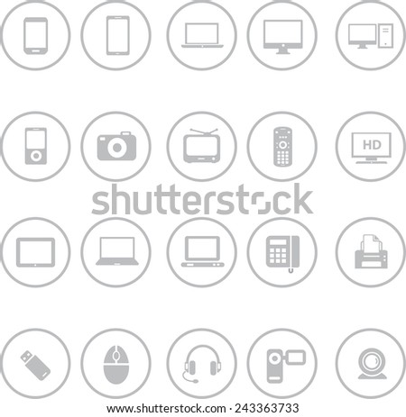 Set of Computer and Mobile Devices Icons - stock vector