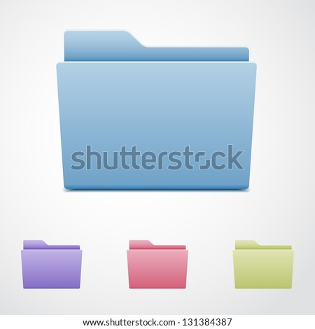 Set of computer folders - stock vector