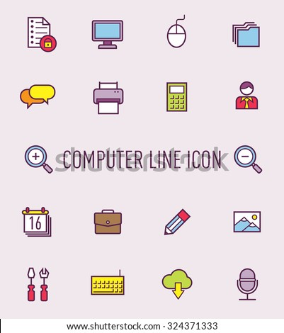 set of computer icon - stock vector