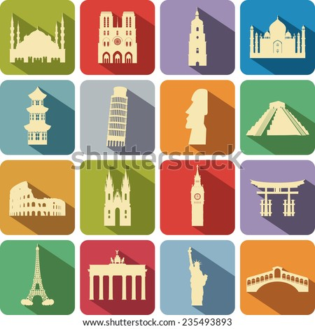 set of computer icons to the tourist attractions of the different countries - stock vector