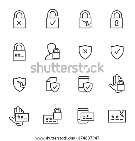 Set of computer security and password icons. - stock vector