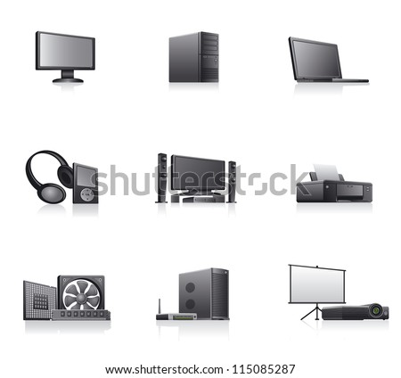 set of computers and electronics devices  icons - stock vector