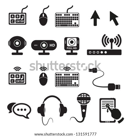 Set of computers and hardware icons. Vector illustration. - stock vector