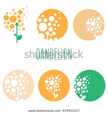 Set of concept abstract logo dandelions. Vector illustration - stock vector