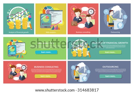 Set of concepts. Web Analytics Consulting Outsourcing. Financial growth, consulting and analysis, development finance, statistic and research, optimization business work illustration - stock vector