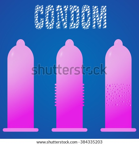 Set of condoms vector fun cute funny . Blue text, background, icon, vector illustrator. condom character . The power of condom. Protect. Safe sex concept. Text with sperm.  Pink and purple condom. - stock vector