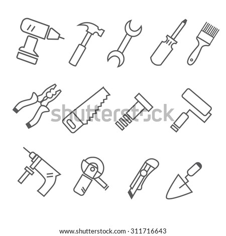 set of construction tools icons. drill icon, screwdriver icon, pliers icon, saw icon, knife icon, wrench icon, hammer icon, screwdriver icon, screws icon, putty knife icon, brush icon.  - stock vector
