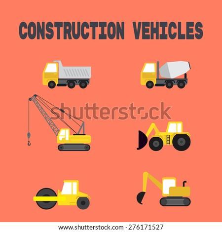 set of construction vehicles 3d. vector - stock vector