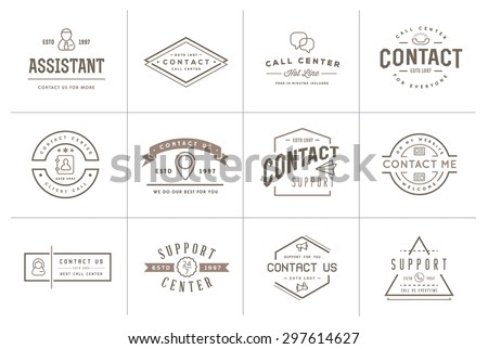 Set of Contact us Service Elements and Assistance Support can be used as Logo or Icon in premium quality - stock vector