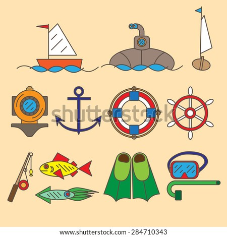 Set of contour icons withe sea and maritime objects. - stock vector
