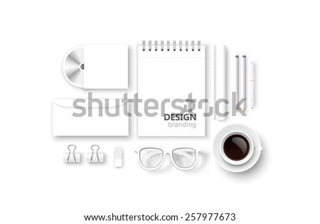 Set of corporate identity and branding isolated on white. Vector illustration - stock vector