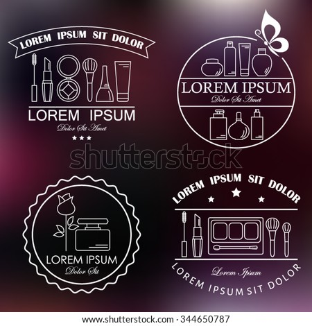 Set of cosmetic and makeup labels, badges, logos and design elements. Beauty products, line style vector. - stock vector