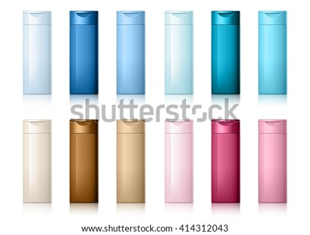 set of cosmetic products on a white background. Cosmetic package collection for shampoo in different colors. vector illustration. - stock vector