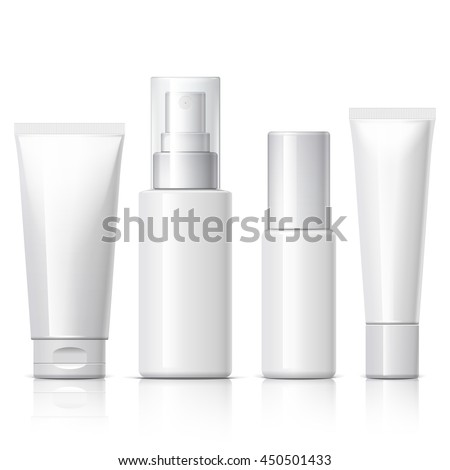set of cosmetic products on a white background. Package collection for cream, soups, foams, shampoo. Object, shadow, and reflection on separate layers. vector illustration. - stock vector