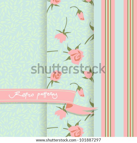 Set of 3 Country patterns with pink buds - stock vector