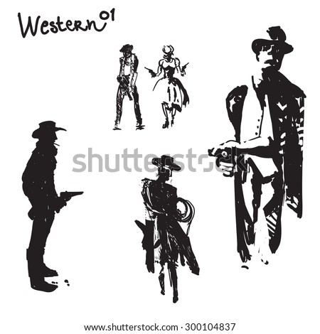 Set of cowboy silhouettes artistic free hand drawing - stock vector